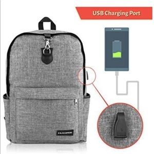 """Gray Laptop Backpack with Charging Port, 15"""""""